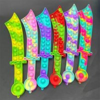 Fidget Toys Push Bubble Katana Sword Shape Party Favor Sensory Puzzles Bubbles Silicone Board Game Educational Stress Relief Decompression Toy Gift