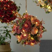 Symulowana hortensja piwonia piłka z światłem fotografii rekwizyty domu wesele wystrój sztuczne kulki kwiatowe