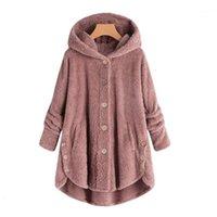 Moda mujer botón abrigo chaqueta esponjosa cola tops con capucha botón suelto suéter largo talla grande ladies abrigo ropa de mujer 2019 # 7111