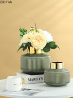 Criativo esmeralda esmeralda vaso arte garrafa de ouro arranjo de flores sala de estar decoração moderna cerâmica vaso decoração