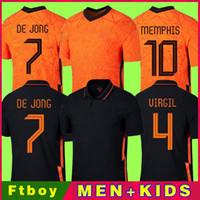 Memphis 2021 Pays-Bas Soccer Shirt de Jong Holland de Ligt Strootman Van Dijk Virgil 2022 Jersey Jersey Adult Hommes + Kit Kit