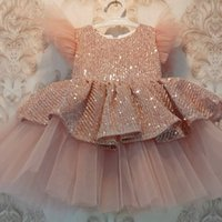 Dusty Pink Princess Cute Girls Pageant Dresses A Line Pearls Beaded Short Flower Girl Dress Arabic Pageant Birthday Party Wear Prom Dress