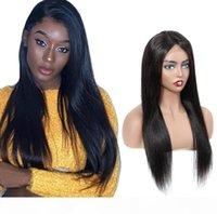 Novo designer moda longa linha reta 13 * 4 rendas dianteiras de cabelo humano perucas de cabelo quente vendendo cabeça completa conjunto remy cabelo brasileiro natural preto transporte rápido