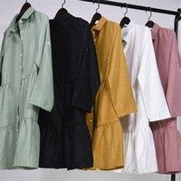 Yhzbhzym Shirt Dress Delle Donne Delle Delle Donne Abito Mini Abito a maniche lunghe Elegante Blu Sexy Abiti da festa Sexy Vestidos de Mujer Bing 210312