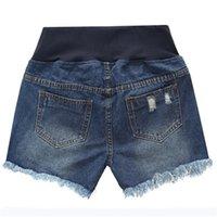 Agujero de maternidad Embarazo corto Seguridad Jeans embarazadas Pantalones cortos Pantalones cortos de cintura baja de cintura de verano. Pantalones sueltos de mezclilla de otoño