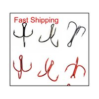100 шт. 35647 Высокоуглеродистая сталь Treble Рыболовные крючки Красный Черный Круглый Bent Triple Har BDI Hairclippers2011