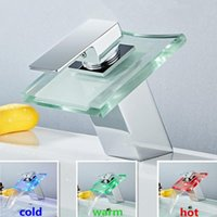 Bathroom Sink Faucets Waterfall Led Basin Faucet Glass Brass Mixer Tap Deck Mounted