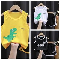 Clothing Sets 2021 Baby Clothes Children's Summer Sleeveless Vest Two Piece Set Cartoon Letter Girls Outfits Fashion Casual Kids Wear