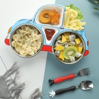 Dinnerware Sets Baby Cartoon Tableware Set Children's Dishes Kids Dinner Platos Feeding Plate Training Car