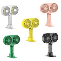 Electric Fans J0PE Multi-Functional Handheld Fan Two-Heads With Phone Holder Base Battery Rechargeable Strong Wind And Quiet Removable