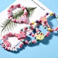 Kids Necklace Conjuntos Accesorio Cuentas Coloridas Fox Rabbit Unicornio Charm Beads Collar y Pulsera Niños Niña Regalo Cumpleaños
