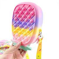Mini Handbag Fidget Toys Pineapple Shape Push Bubble Coin Purse Messenger Bag Mobile Phone Wallet Bags Fashion Finger Toy Children Gifts