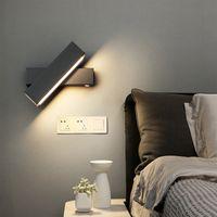 LED wall lamp Nordic bedroom bedside light rotating living room corridor staircase aisle study background black sidelight