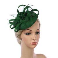 ستيسين بريم القبعات أزياء المرأة القوس عقدة فيدوراس أغطية الرأس على شكل زهرة الريشة تشبه اكسسوارات للشعر عقال و دبوس الشعر قبعة الاستخدام المزدوج