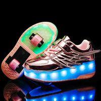 아이들을위한 롤러 스케이트 테니스 신발 소년 소녀 LED 가벼운 바퀴 휠 2 바퀴 어린이 빛나는 롤러 운동화 신발 210729