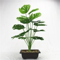 50 سنتيمتر 18fork كبير النباتات الاصطناعية البلاستيك شجرة السلاحف يترك وهمية monstera فرع مصنع الأخضر الاستوائي ل بونساي الديكور الداخلي 715 K2