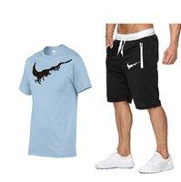 2021 패션 100 % 코튼 티셔츠 트랙스 남성 여름 2PC Tracksuit + 반바지 세트 해변 망 캐주얼 티셔츠 세트 스포츠웨어 화이트 레드 세트