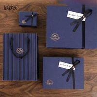 Gift Wrap Simple Business Party Celebration Man Blue Stripe Bronzed Letter Silk Scarf Shirt Perfume Expanded Rectangular Box B166D