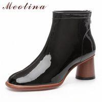 Meotina Winter Knöchelstiefel Frauen Natürliche Echtes Leder Runde High Heel Kurzstiefel Kuh Patent Leder Reißverschluss Schuhe Dame Herbst S0WH #
