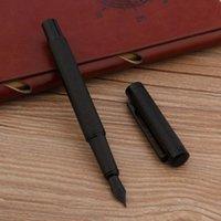 جديد جودة عالية ماركة 1916 نافورة القلم هدية مربع مجموعة ماتي الأسود التيتانيوم الأسود القلم القلم حجاب الانحناء مكتب اللوازم المدرسية