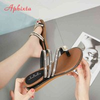 Aphixta Wedges Sandals Women Rhinestones Female Flip Flops Summer Modis Leather Crystal Slippers Ladies Babouche Bling Shoes K731