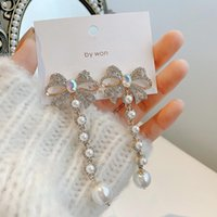 Stud 2021Fashion Personality Full Diamond Bow Long Tassel Earrings Net Red Temperament Exaggerated Retro Pearl