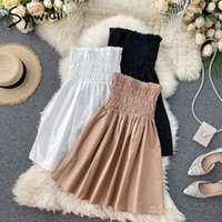 Casual Dresses Syiwidii Mini White Dress For Women Summer 2021 Glamour Bridesmaid Sexy Folds Elastic Strapless Party Evening Black