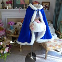Wraps & Jackets Bridal Cape Royal Blue 37 Inch Satin Warm Wedding Cloak Hooded Reversible Fur Trim For Shawl Elegant Accessories 2021