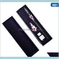 Creative Vintage Handmade Art Elegant Crystal Floral Glass Dip Pen Sign Ink Pens School & Office Gift New Drop Shiping Drvea Di1S5
