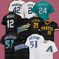 21 Roberto Clemente 51 Randy Johnson 42 Jackie Robinson 12 Wade Boggs Rétro Men Mitchell Ness Baseball Jersey Z1