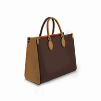 Bolsa de compra Classic Brand Cuero Capacidad de gran capacidad de Lujo Diseñador de lujo Moda de alta calidad Damas marrones
