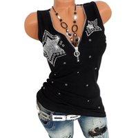 Women's Tanks & Camis Fashion Women Diamond Sexy Deep V-Neck Tank Top Strentch Summer Casual Cute Simple White Black Ladies Tops Tee Clothin