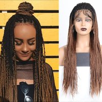 Synthetic Wigs Box Braids With Baby Hair Lace Front Braided Wig For Black Women Daily Wear High Temperature Ombre Brown