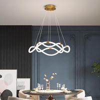 Chandeliers White LED Chandelier Lighting Fixtures Cord Pendant Livingroom Restaurant Bedroom Hanglamp Luminaire Suspension Drop