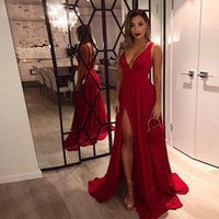 Deep V Neck Sexy Prom Dresses Side Split A Line Long Maid of Honor Gowns Women Special Occasion Formal Party Robe De Marrige