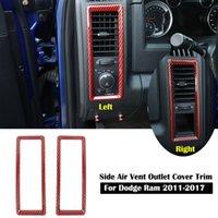 Condizionatore d'aria in fibra di carbonio rosso Vent Outlet Cover Frame decorativo 2pc per Dodge RAM 2010-2017 Accessori interni auto