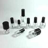 2021 Vuoto Cancella vetro gelish smalto bottiglia bottiglia per unghie bottiglie di olio 5-8-10-12-15 ml forma quadrata rotonda con tappo a vite in plastica nera
