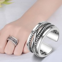 Ancient silver Braid multi layer Ring Band Open Adjustable Crossover Wide Rings Chunky Stackable Men Women Girls Fashion jewelry will and sandy