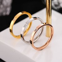 Fancy Women Simple Design 18K Gold Plated Stainless Steel Diamond Ring Jewelry