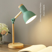 Creative Nordic Wooden Art Iron LED Folding Simple Desk Lamp...
