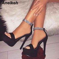 Aneikeh Sommer Strass Schnalle Platform Sandalen Frauen Römische dünne High Heels Pumps Abdeckung Abdeckung Nachtclub Party Schuhe Größe 35 42 Günstige A51s #