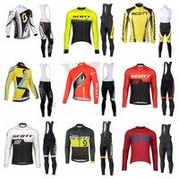 스콧 팀 편안한 품질 사이클링 긴 소매 유니폼 턱받이 바지 빠른 건조 MTB 야외 스포츠 사이클링 장비 102911