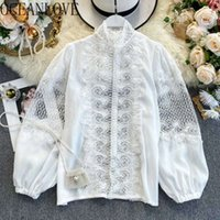 Oceanlove Femmes Tops Dentelle Creux Solide Spring Hope Blouse Blouse Vintage Coréen Mode Élégante Blusas Mujer 151361