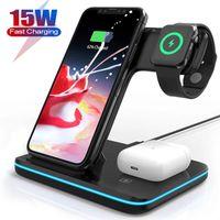 3 в 1 qi беспроводное зарядное устройство стойки для Apple Watch 6 5 4 Airpods Pro 15W быстрая зарядка док-станции для iPhone 12 11 Pro Samsung S10 телефонов