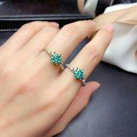Cluster Rings MeiBaPJ 1 2 S Green Moissanite Gemstone Fashion Diamond Ring VVS 925 Sterling Silver Fine Wedding Jewelry For Women