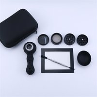 wholesale Tobacco Dry Herb All Black Style Smoking Pipes Set with Hand Pipe Storage Bowl Wax Mat Dabber Tool Herb Grinder Accessories Kits 420