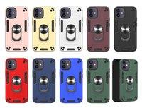 Cas hybride 360 Kickstand pour iPhone 13 Pro Max 11 12 Mini XS XR 6G 7G 8G Porte-voiture Porte-voiture Porte-bague magnétique
