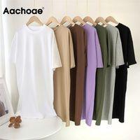 Aachoae Women Casual Loose Solid 100% Cotton T Shirt Dress O Neck Mini Dress Batwing Short Sleeve Basic Dresses Vestidos 210802