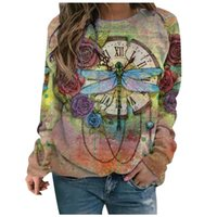 Women's T-Shirt Women O-neck Scenery Butterfly Printing Long Sleeves Pullover Blouses Easy Tops Perfect Choice For Pretty Lady Camisetas