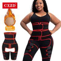 CXZD 3 em 1 neoprene cinto de barriga da coxa de coxa pêlos de perna forma forma de corpo instrutor de cintura bunda lifter shapewear mulheres perda de peso